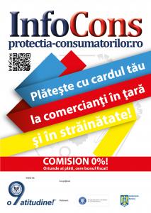 Afis Plateste cu cardul tau la comercianti in tara si in strainatate - InfoCons - Protectia Consumatorilor