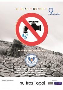 afis Stop risipei! Inchide, stinge, recicleaza! Nu risipi apa - InfoCons - Protectia Consumatorilor