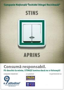 sticker Stop risipei! Inchide, stinge, recicleaza! Consuma responsabil - InfoCons - Protectia Consumatorilor