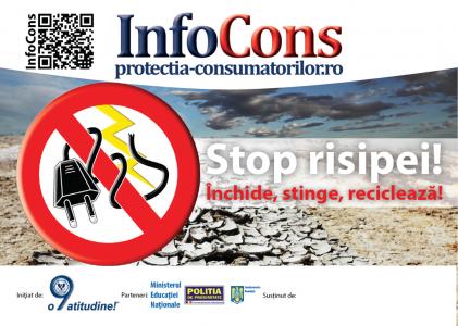 sticker Stop risipei! Inchide, stinge, recicleaza! - InfoCons - Protectia Consumatoirlor