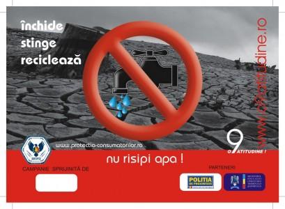 sticker Stop risipei! Inchide, stinge, recicleaza! Nu risipi apa - InfoCons - Protectia  Consumatorilor
