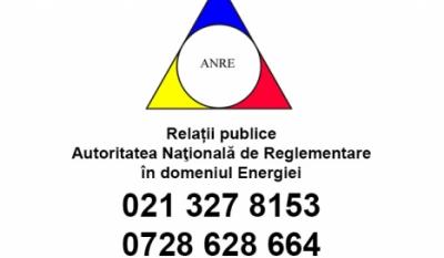 Telefonul consumatorului A.N.R.E. - 021 327 8153