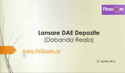 FinZoom.ro lanseaza, in premiera pentru romania, DAE pentru depozite