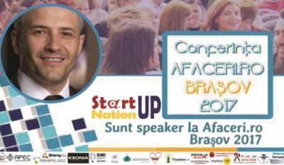 Președintele InfoCons, Sorin Mierlea, susține un discurs la Conferința Afaceri.ro Brasov 2017