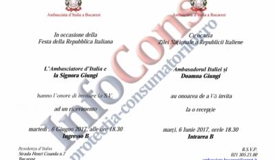 Președintele InfoCons, Sorin Mierlea, participă la recepția organizată cu ocazia Zilei Naționale a Republicii Italiene.