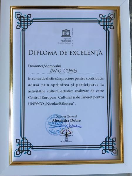 Diplomă de excelență primită de către Centrul European Cultural si de Tineret pentru UNESCO \