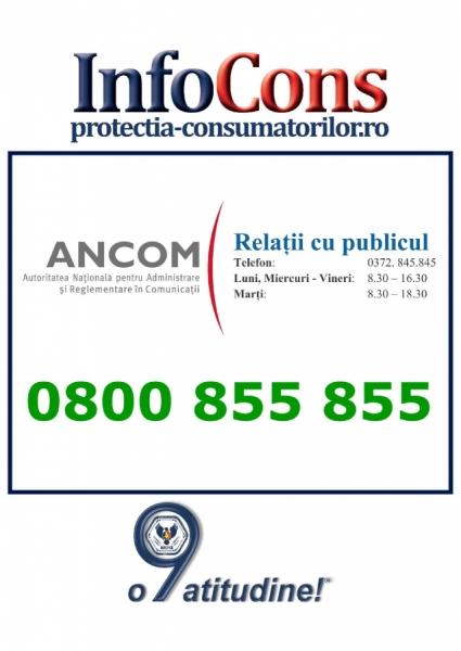 Autoritatea Națională pentru Administrare și Reglementare în Comunicații – 0800 855 855m - Protectia Consumatorilor - In