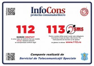 112 – 113 – Numere de urgență de afișat