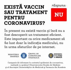 Există vaccin sau tratament pentru coronavirus? - NU