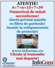 Alerta protectia consumatorilor! Numarul mastilor neconforme a crescut ingrijorator! In prezent sunt 39 de tipuri de masti neconforme!