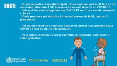 Ați putea pastra respirația timp de 10 secunde sau mai mult fără a tuși sau a simți disconfort NU înseamnă că nu esti infectat cu COVID-19