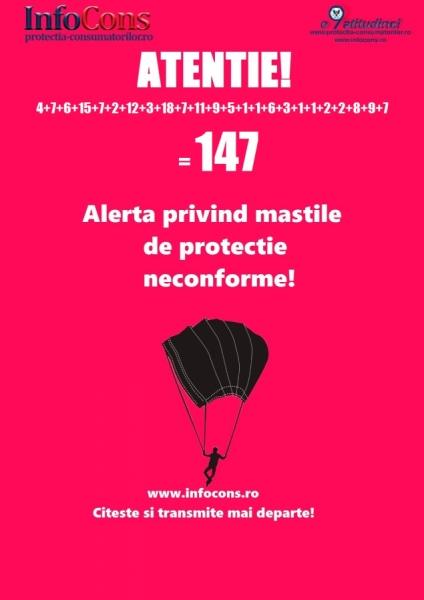 Alerta protectia consumatorilor! Inca 7 masti de protectie neconforme !!! Total 147 masti de protectie neconforme !!!!!