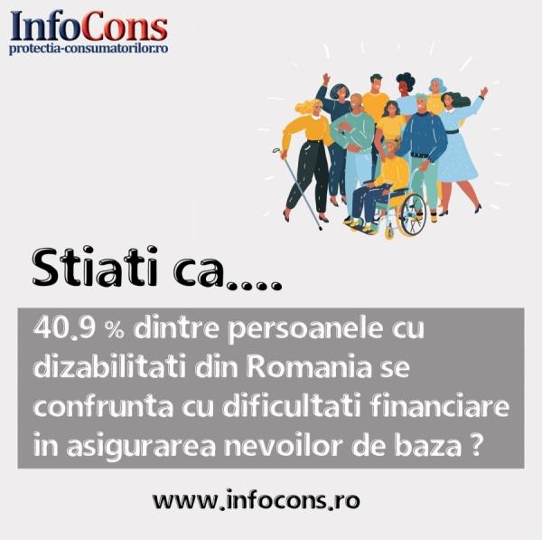 40.9% dintre persoanele cu dizabilități din România se confruntă cu dificultăți financiare în asigurarea nevoilor de baz